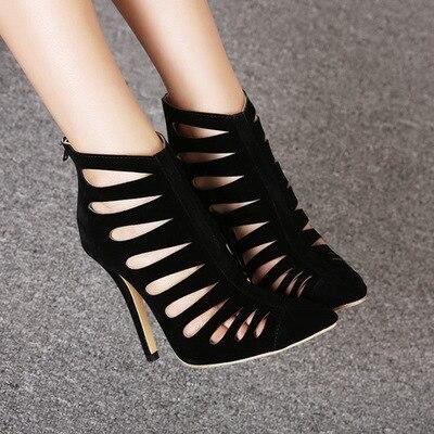 Talons Fermeture Noir Avec Sexe Chaussures Femmes Sexy Orteil Découpes Dames Marque Chaude Éclair Pompes Haute Gladiateur Pointu Femme qtzxZ8wX