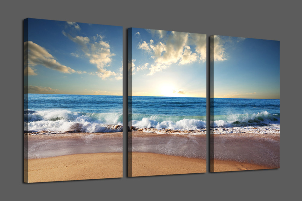 Hot Sales Seascape Canvas Wall Painting Beautiful Beach And Wave For Home Decoration Modern Hd Picture For Living Room Canvas