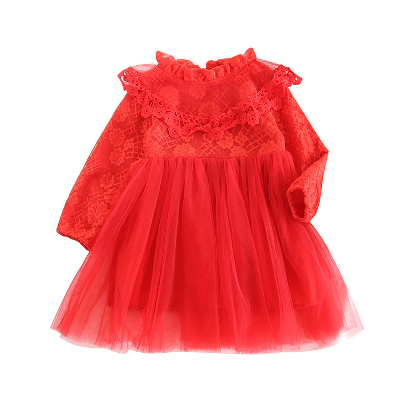 Children's clothing girls spring and autumn red flowers solid color lace stitching mesh princess dress sweet dress thai tide brand cape style fairy layer tassel stitching slim dress hollow out mesh lace stitching fringed champagne dress white