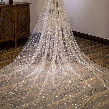 Sequin 3.5 meters long veil cathedral wedding veil with comb accessoire mariage WAS10150