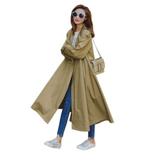 Loose Windbreaker Female Long Section Korean Version  The Spring 2019 New Fashion Was Thin Over The Knee Thin Section Coat YH130 2019 spring new fat mm large size women s korean version of the wild was thin in the long section was thin double breasted vest