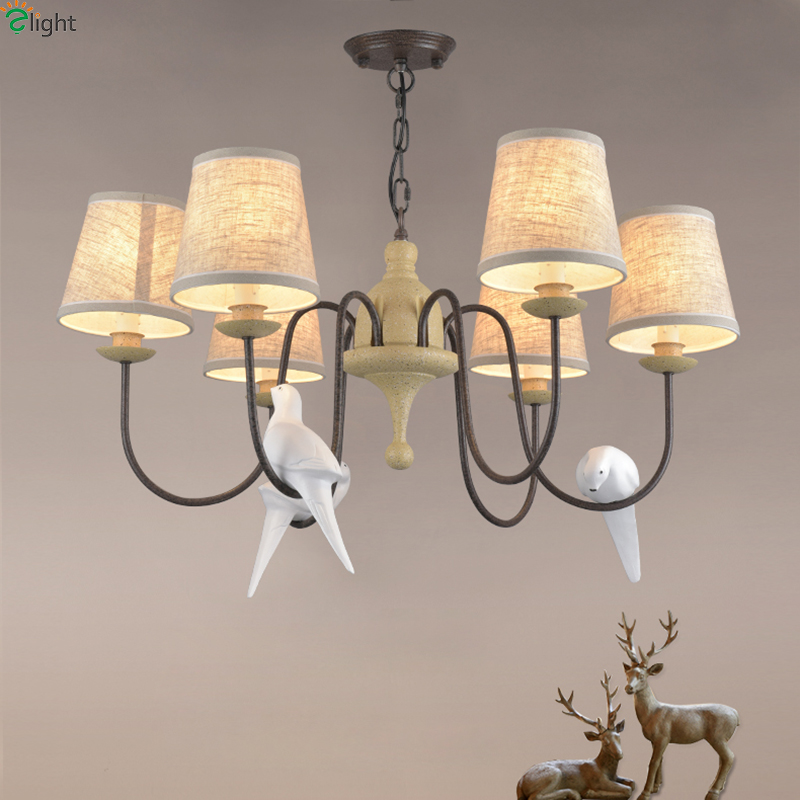 American Retro Resin Birds Led Chandeliers Lamparas Metal Living Room Led Pendant Chandelier Lighting Hanging Lights Fixtures modern lustre crystal led chandelier lighting chrome metal living room led pendant chandeliers light led hanging lights fixtures
