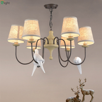American Retro Resin Birds Led Chandeliers Lamparas Metal Living Room Led Pendant Chandelier Lighting Hanging Lights Fixtures