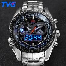 TVG Marque Numérique Montre Hommes Sport Waterproof Quartz Horloge Analogique De Mode Lumineux LED Montres-bracelets Relogio Masculino xfcs