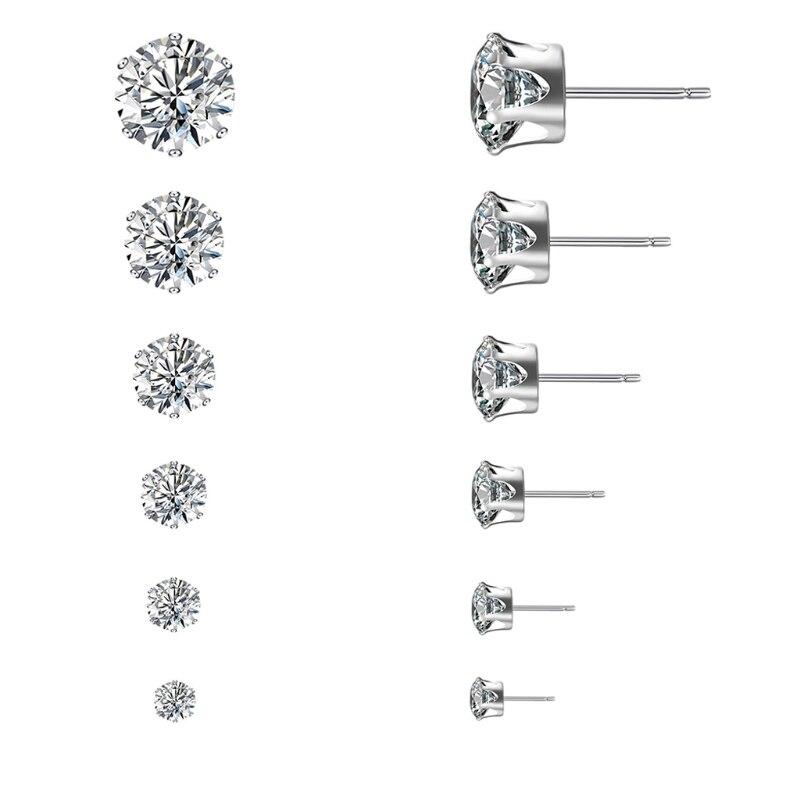 6Pair Women Rhinestone Zircon Stainless Steel Ear Stud Ring Earrings