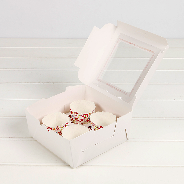 50 pcs cupcake box with window Gift Packaging For Wedding Home Party 4 Cup Cake Holders
