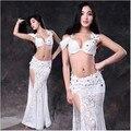 Новые костюмы танец живота сексуальный старший кружевной бюстгальтер топ + длинная юбка 2 шт. belly dance набор для женщин живота танцевальные костюмы