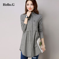 Fashion 2016 Autumn Office Long Sleeve Plaid Cotton Long Shirt Dress Women Tops POLO Collar White