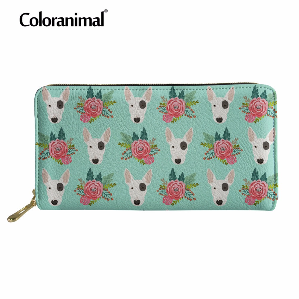 Coloranimal 3D Bull Terrier Print Long Wallet Card Holder Leather PU Wallets Women Men Portable Handbags Fashion Shopper Purse