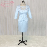 SuperKimJo Short Evening Dresses with Jacket Satin Mermaid Lace Applique Evening Gown for Wedding Guest Vestido De Noche