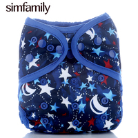 Simfamily New Arrival 1PC Washable Cloth Diaper Cover Adjustable Double Gusset Reusable 3Dprinted Design Nappy