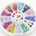 200 Pcs Nail Art 12 Colors Crystal Glitter Rhinestone Flower Manicure Wheel Studs 4BCM