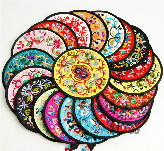 Chinese Style Embroidery Cup Cushion Beijing Folk Embroidery Technology Cup Pad Mats Gifts for Going Abroad Gift for Foreigners