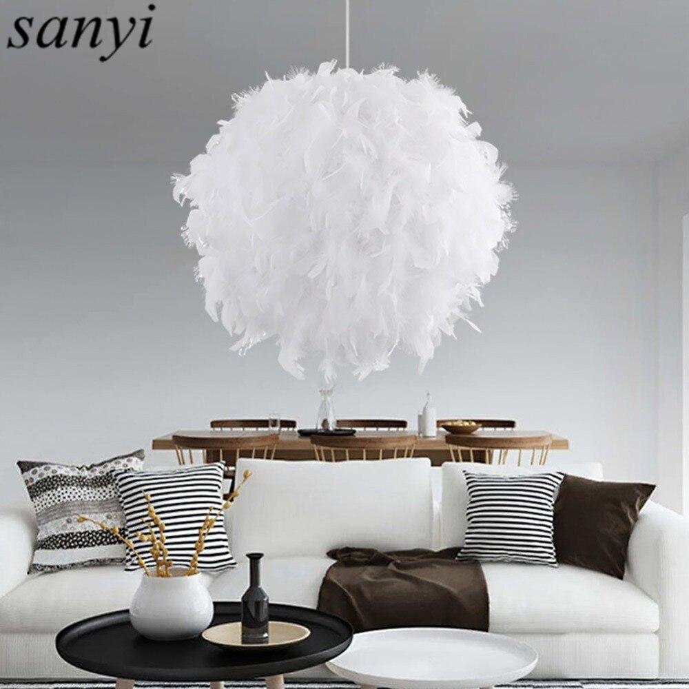 Moderne Romantische Luxus Weiß/Rosa Farbe Feder Pendelleuchte Lampe Ehe  Zimmer Bekleidungsgeschäft Schlafzimmer Esszimmer Pendelleuchte