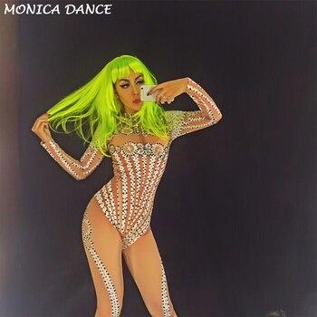 Diamond Queen AB Sparkling Crystals Jumpsuit Nightclub Party DJ DS Singer Stage Wear Women Sexy Stage Costume Birthday Celebrate