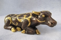 Royal Palace Pure Bronze 24K Gold Gild Feng Shui phoenix design animal Cattle 8.02