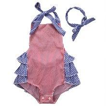 Infant Baby Kids Girls Cotton Summer Clothes Striped Backless Bodysuit Jumpsuit Playsuit Outfit Sunsuit