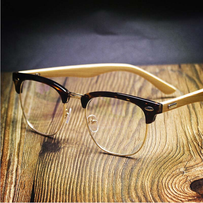 Peekaboo NEW rivets square bamboo glasses frames men clear lens semi ...