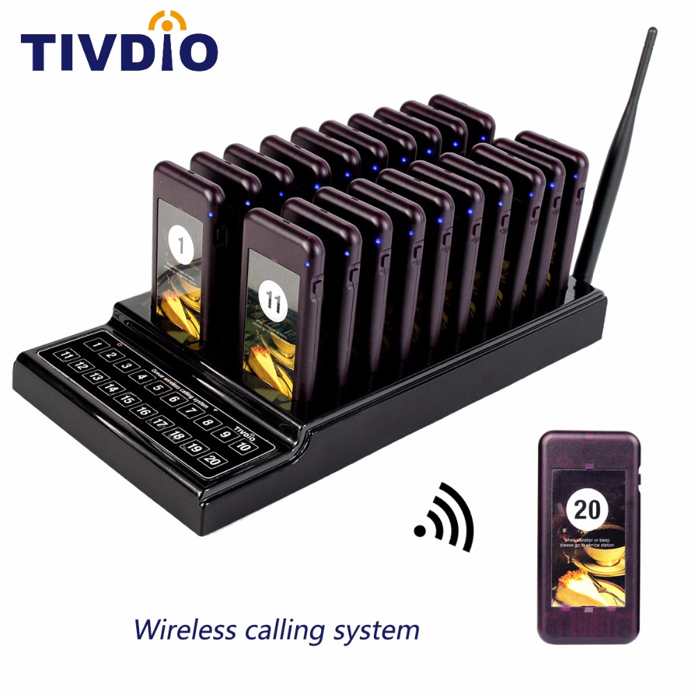 TIVDIO T-111 Wireless Paging Queuing System 20 Call Coaster Pager+1 Transmitter Battery Restaurant Pager Equipment F9401 wireless service call bell system popular in restaurant ce passed 433 92mhz full equipment watch pager 1 watch 7 call button