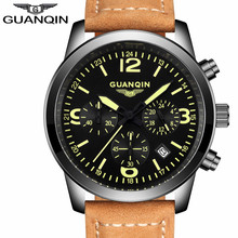 GUANQIN Mens Watches Top Brand Luxury Chronograph Date Luminous Analog Quartz Watch Men Military Sport Leather Strap Wristwatch