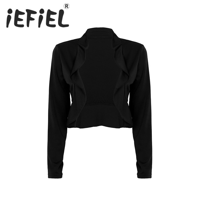 Ladies Women Girls Long Sleeve Draped Ruffles Open Front Cropped Cardigan Casual Shrugs Jacket for Ballet Dance Wear Clothes