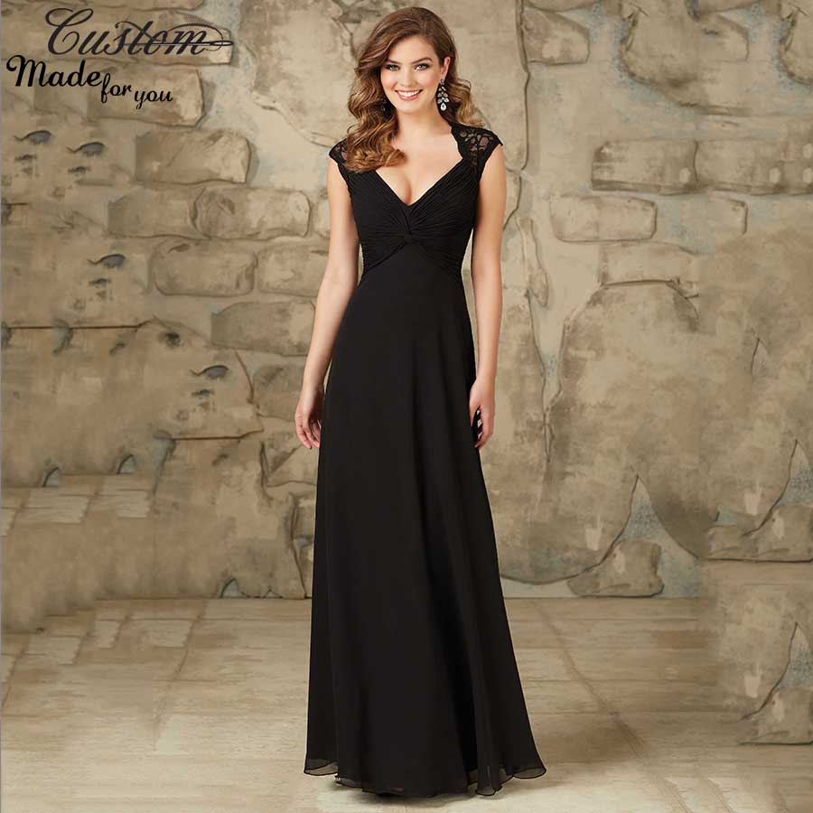 Maternity Formal Wedding Party Dress Long Chiffon Twisted Black Lace