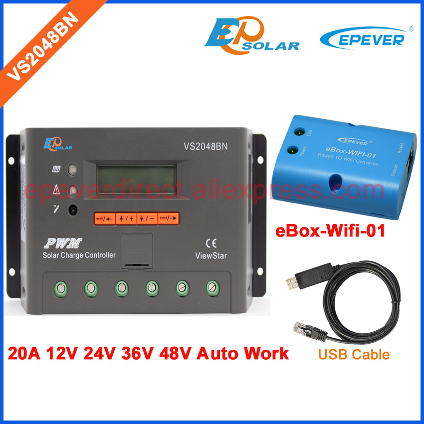 eBOX-Wifi-01 and USB communication cable PWM controller LCD display VS2048BN solar battery controller 20A 48V 36V EPEVER ble box vs2048bn 20a 24v 48v work usb cable solar pwm 20amp charger controller epever communication cable connect pc
