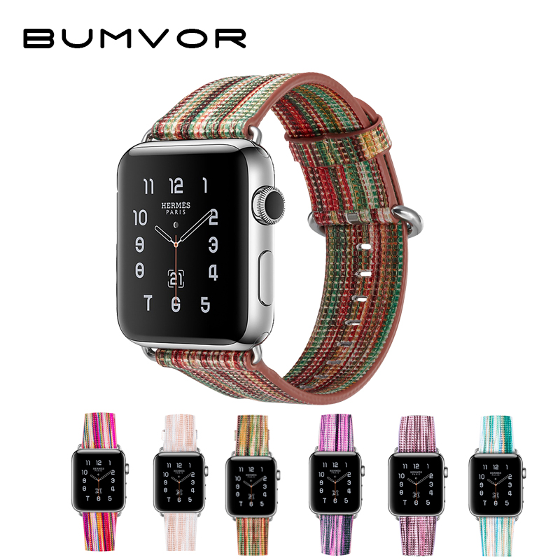 BUMVOR Fashion style Painted Leather Watch Band Strap for Apple Watch colorful pattern Wrist Watch Bracelet for iwatch 42 38mm