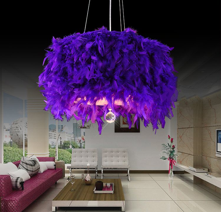 Feather Pendant Lamp Coloured Pink Shades Crystal Light Fixture Ceiling Chandelier Black Lamps Colourful Purple Cristais Lampen white black pink rose red purple wine red modern globe shade feather pendant light lamp indoor deco ceiling fixture lighting