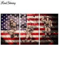 REALSHINING Full Diamond Embroidery 5D Diy Diamond Painting 3pcs Military Soldier 3d Cross Stitch Diamond Mosaic