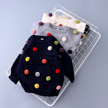 Autumn Fashion Baby Sweater With Furry Balls Knit Girls Top Wool Super Soft Cardigan O-Neck Infant Boys Pullover Kids Clothes
