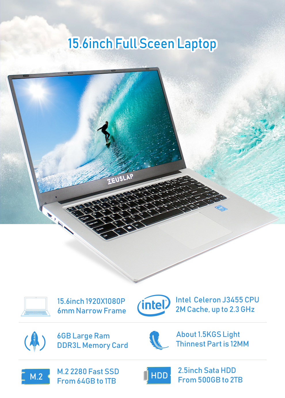 ZEUSLAP New 15.6inch 6GB Ram Dual Disks 1920*1080P IPS Screen Windows 10 System Fast Boot Cheap Netbook Laptop Notebook Computer 9