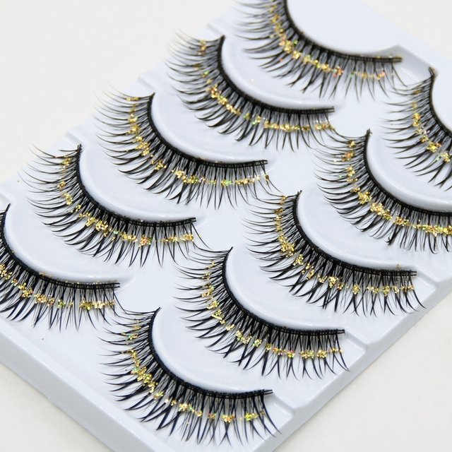 042ee889680 YOKPN Thick Colored False Eyelashes Exaggerated Gold Sequins Lashes Arts  Stage Makeup Cross Section Sequins False Eyelashes