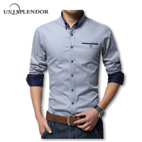 2016 New Spring Cotton Shirts Men High Quality Long Sleeve Slim Fit Shirt Pure Color Modern