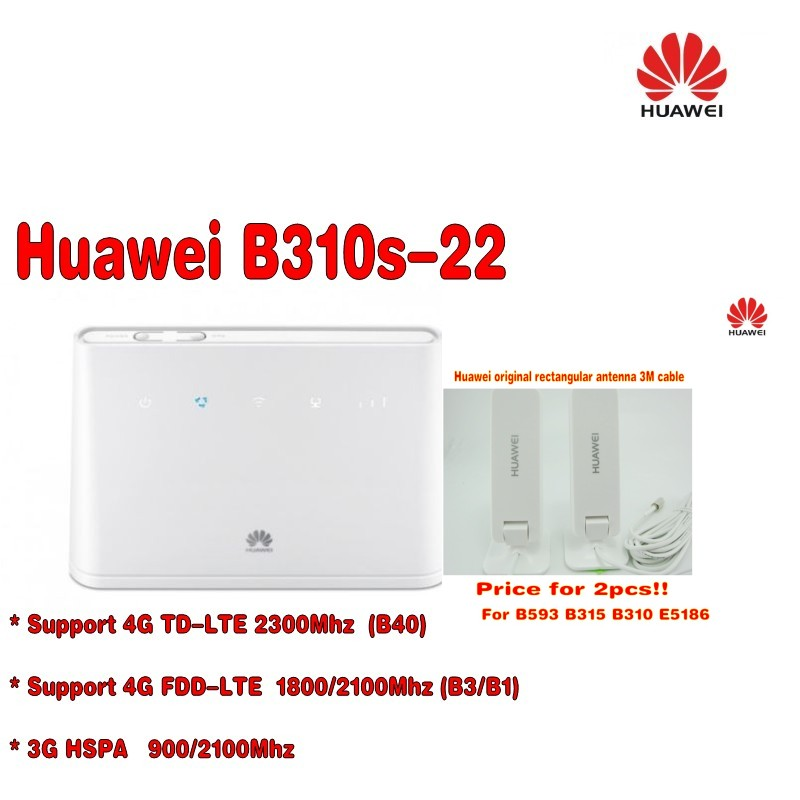 Original Unlocked HUAWEI B310S-22 150M 4G LTE CPE WIFI ROUTER modem with sim card slot  plus antenna huawei b593 lte cpe 4g router with sim card slot b593u 12 dual 35dbi antenna 3g