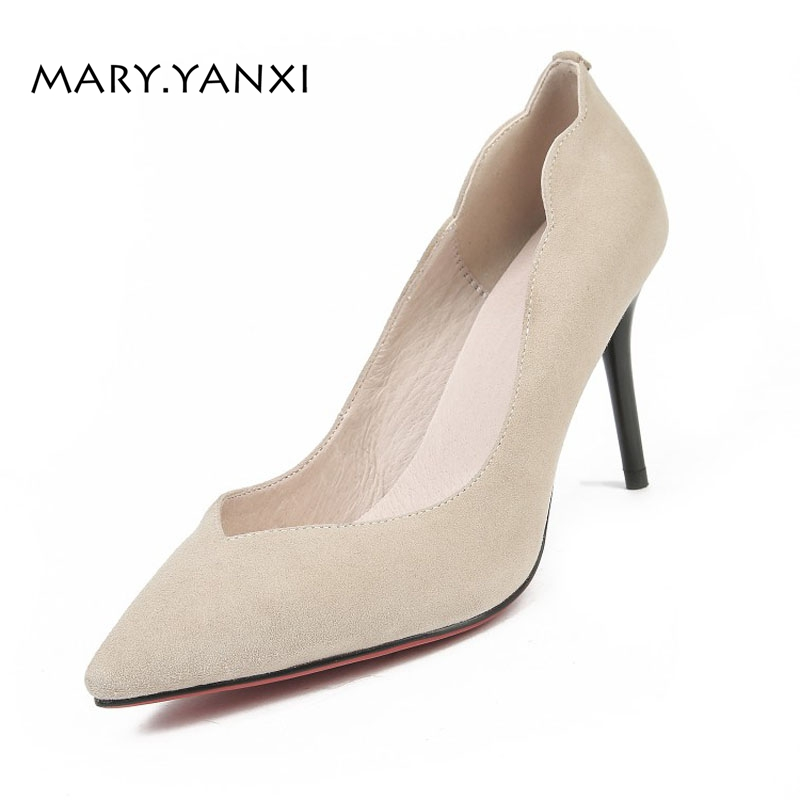 Spring/Autumn Women Pumps Lady Shoes Genuine Leather Flock High Thin Heels Pointed Toe Fashion Slip-On Shallow Solid Stilettos new zapatos mujer ultra high heels embroidery boss lady pointed toe stilettos slip on shallow pumps leather women party shoes