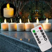 Pak Van 6 Of 12 Afstandsbediening Of Niet Remote Batterij Elektronische Kaarsen, vlamloze Dancing Flame Led Swing Thee Verlichting Voor Kerst