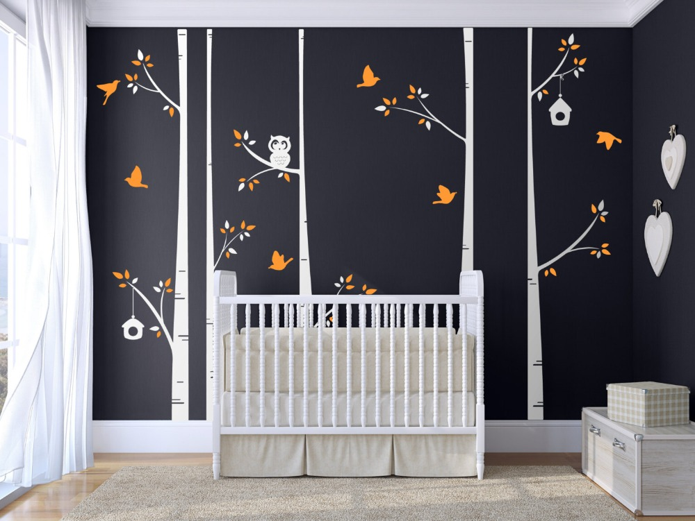 Birch Tree Set Of 5 Tree With Owl Birds Wall Decal Nice Wall Stickers For  Kids