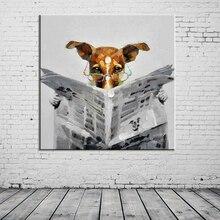 手作り新聞を読む犬キャンバスに抽象写真家の装飾動物の油絵の写真