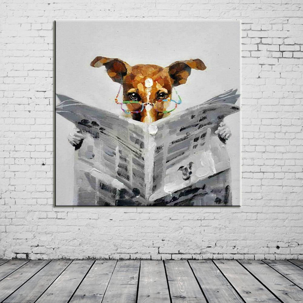 Ručně malované nástěnné malby Přečtěte si noviny Psí obrazy na plátně Abstraktní obrázek Domů Dekorace Zvířata Olejomalba Hang Pictures