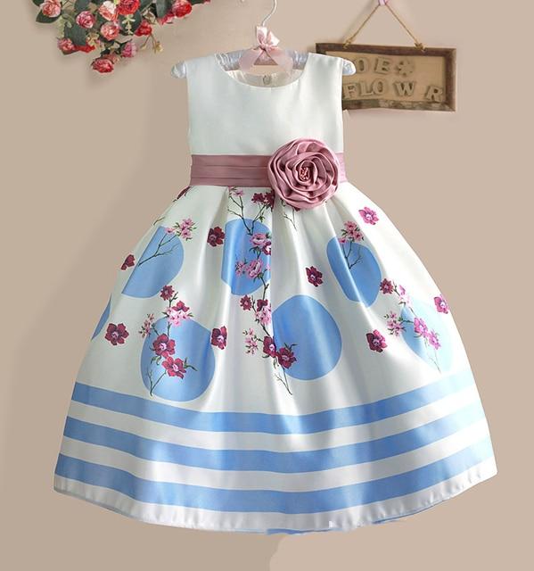 New Flower Girl Dress Sky Blue Dot Sleeveless Children Party Wedding Summer Dresses For 4-8Y
