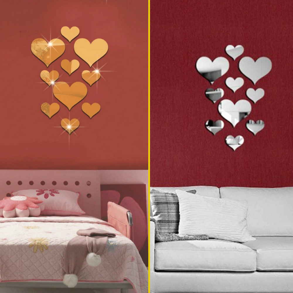 10Pcs Stars Mirror Wall Decals Removable 3D Wall Stickers For Bedroom Silver furniture stickers