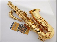 2016 Hot Best Selling French Henri Selmer Paris Alto Sax 802 E Flat Electrophoresis Gold Top