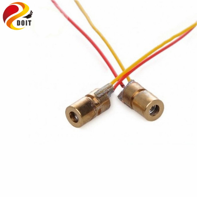 DOIT Free Shipping 650nm 6mm 3V 5mW Adjustable Laser Dot Diode Module Red Copper Head