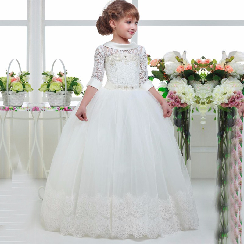 first communion   dresses   for   girls   White   flower     girl     dresses   Appliques prom   dresses     girls   ball gown vestidos comunion ninas 2017