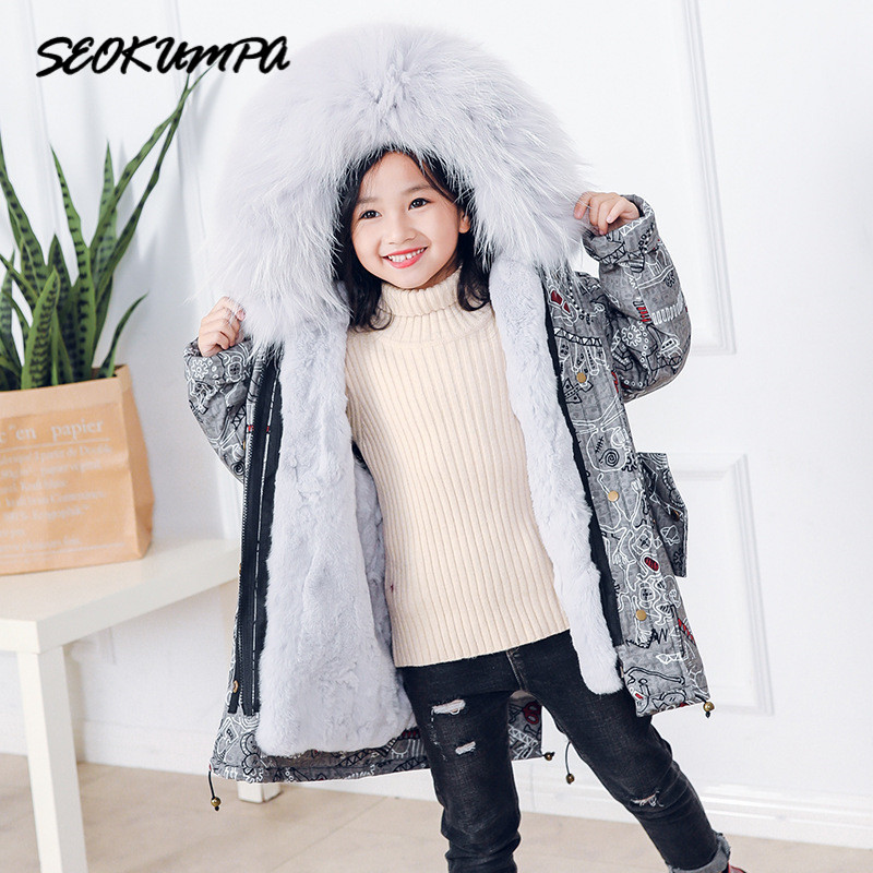 Winter Girls Natural Rex Rabbit Fur Coat Children Fur Kids Jacket Warm Parkas Real Raccoon Fur Collar Baby Boys Girls Jackets universal dual female usb output car charger white