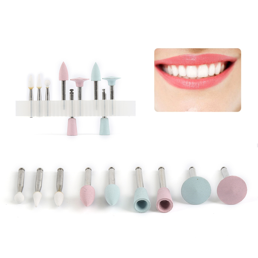9pcs/lot Dental Silicone Grinding Heads Teeth Polisher For Low-speed Machine Polishing Dental Tool Composite Polishing Kit TSLM2