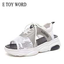 E TOY WORD Sandals women 2019 Platform Summer Breathable Lace Up ladies sandals Walking Shoes wild Woman Black White