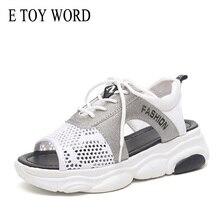 E TOY WORD Sandals women 2019 Platform Summer Breathable Lace Up ladies sandals Walking Shoes wild Woman Black White Sandals word up футболка