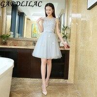 Gardlilac Grey Short Homecoming Dress with Applique Beading Tulle Cap Sleeve Graduation Dress Knee A Line vestidolongo